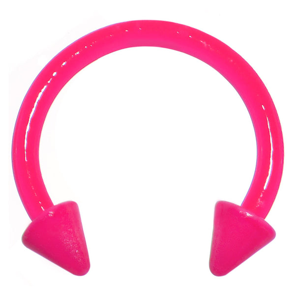16 Gauge 3/8 Neon Pink Spike Horseshoe Circular Barbell 3mm