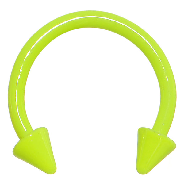 16 Gauge 3/8 Neon Yellow Spike Horseshoe Circular Barbell 3mm