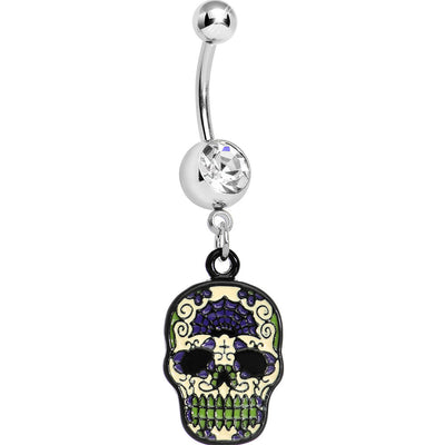 Top Drop Skull And Crossbones Tummy Huggy Belly Ring Bodycandy