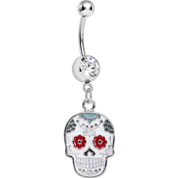 Clear Gem White and Red Sugar Skull Dangle Belly Ring