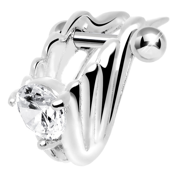 Silver 925 Clear CZ Silver 3D Chariot Wings Cartilage Barbell Cuff
