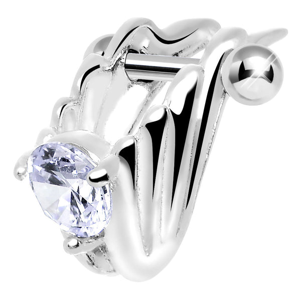 Silver 925 Purple CZ Silver 3D Chariot Wings Cartilage Barbell Cuff