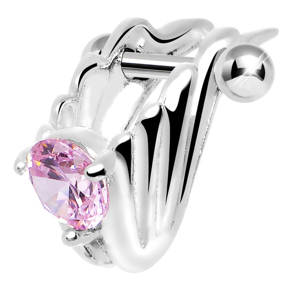 Silver 925 Pink CZ Silver 3D Chariot Wings Cartilage Barbell Cuff