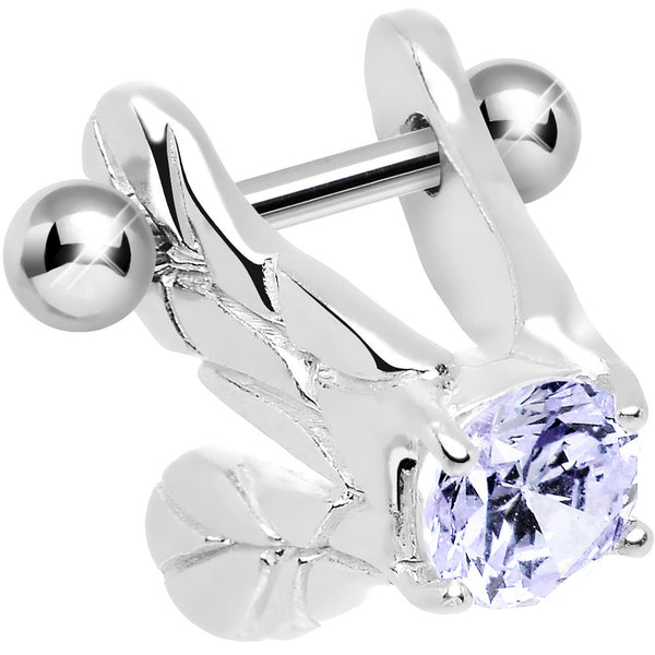 Silver 925 Purple CZ Silver 3D Flapping Bird Wings Cartilage Barbell Cuff