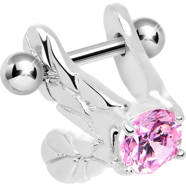 Silver 925 Pink CZ Silver 3D Flapping Bird Wings Cartilage Barbell Cuff