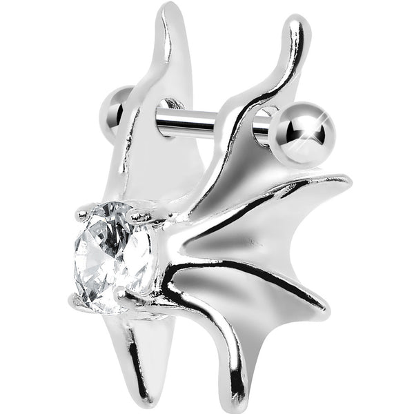 Silver 925 Clear CZ Silver 3D Gargoyle Wings Cartilage Barbell Cuff