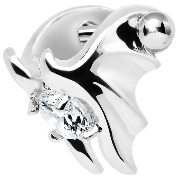Silver 925 Clear CZ Silver 3D Bat Wings Cartilage Barbell Cuff