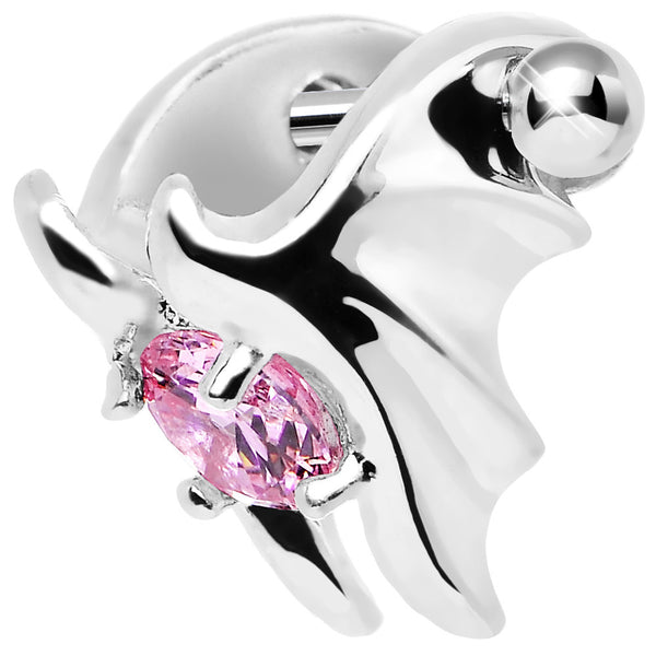 Silver 925 Pink CZ Silver 3D Bat Wings Cartilage Barbell Cuff
