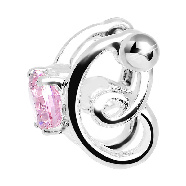 Silver 925 Pink CZ Silver 3D Sweet Spiral Cartilage Barbell Cuff