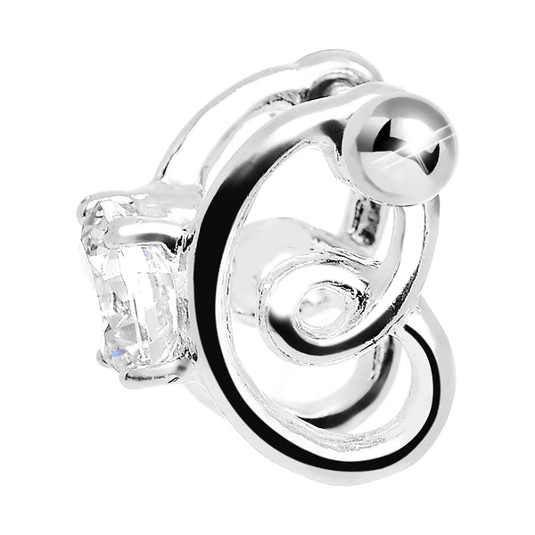 Silver 925 Clear CZ Silver 3D Sweet Spiral Cartilage Barbell Cuff