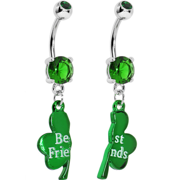 Green Gem Irish Clover Best Friends Dangle Belly Ring Set