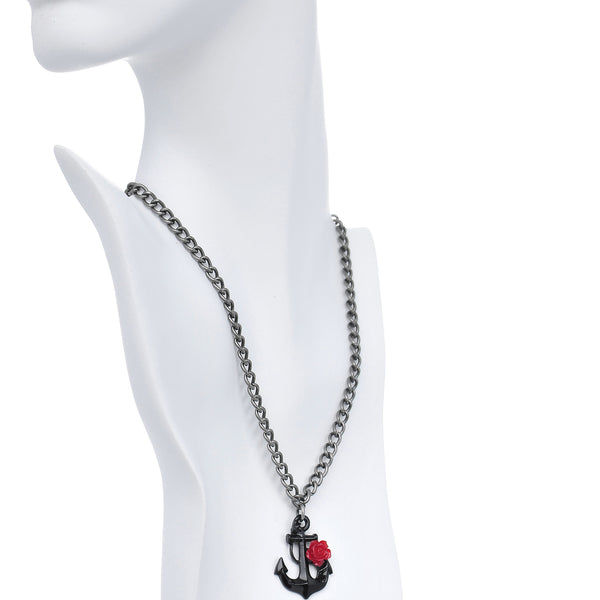 Red Rose Flower Black Anchor Pendant Necklace