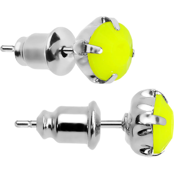 Yellow Neon Acrylic Droplets Stud Earrings