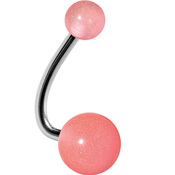 Pink Cloud Acrylic J-Bar Belly Ring