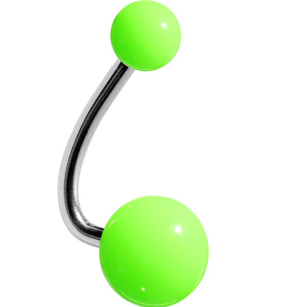 Neon Lightning Green Acrylic J-Bar Belly Ring