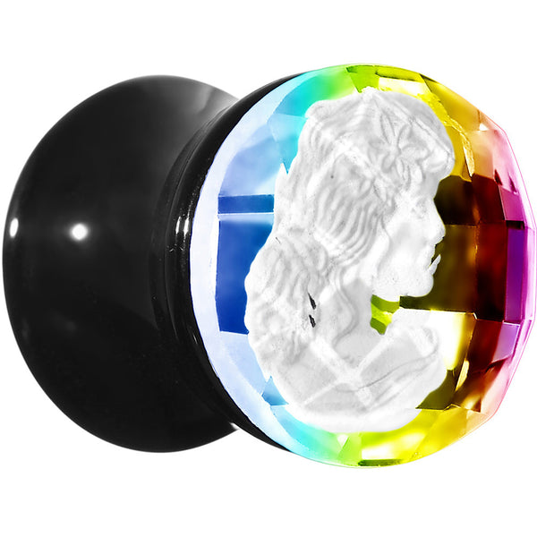 00 Gauge Faceted Rainbow White Cameo Acrylic Saddle Plug