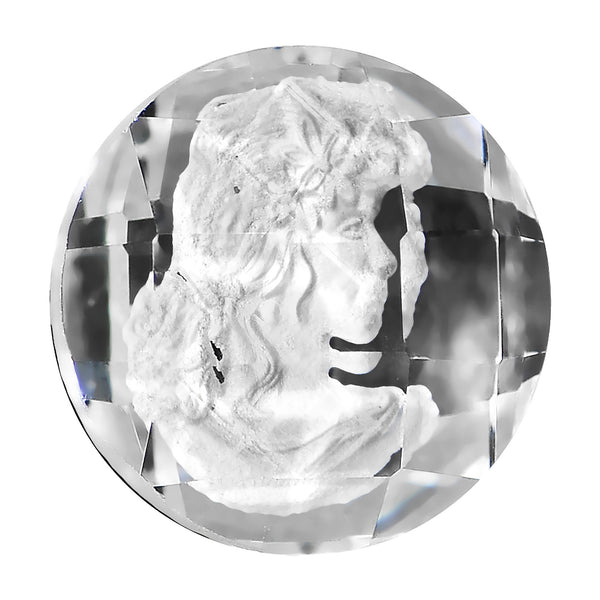 00 Gauge Faceted Clear White Cameo Acrylic Saddle Plug