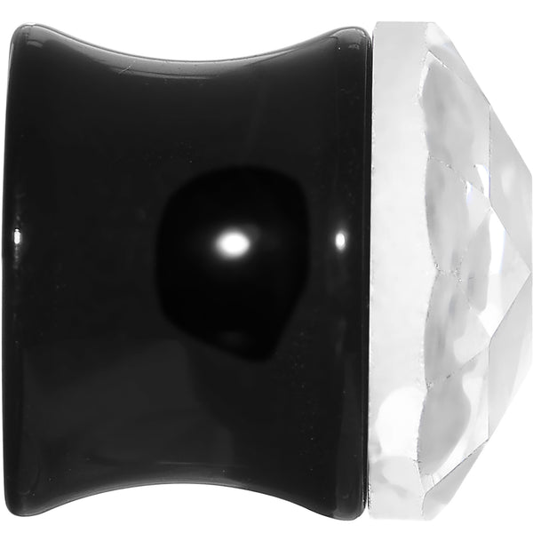 1/2 Faceted Clear White Cameo Acrylic Saddle Plug