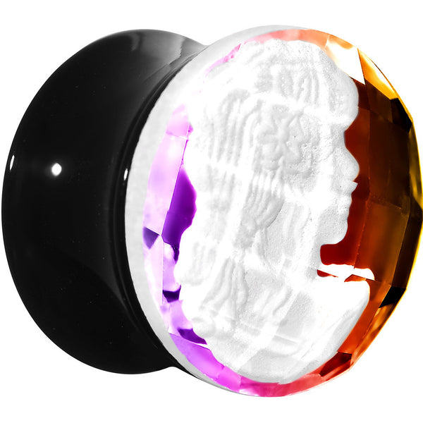 5/8 Faceted Rainbow White Cameo Acrylic Saddle Plug