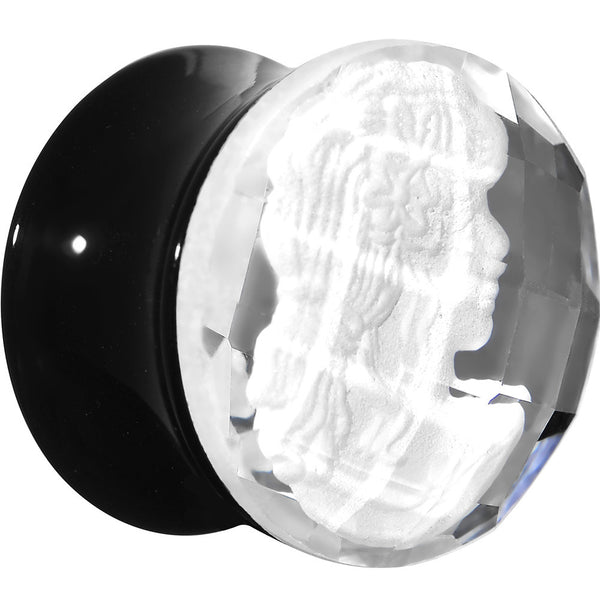 5/8 Faceted Clear White Cameo Acrylic Saddle Plug