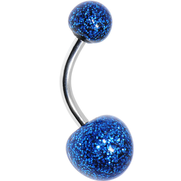 3/8 Black Blue Resin Ultra Glitter Belly Ring