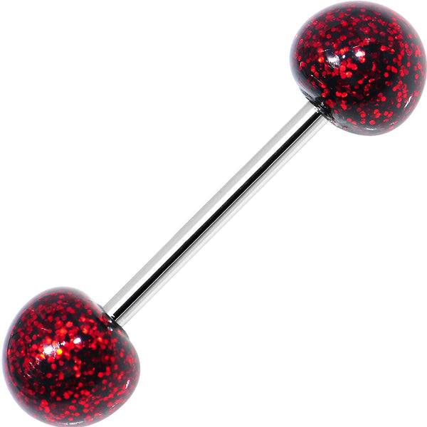 Black Red Resin Ultra Glitter Barbell Tongue Ring