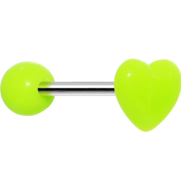 14 Gauge Green Neon Beating Heart Straight Barbell Tongue Ring 5/8""
