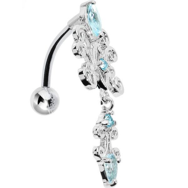 Top Mount Aqua Gem Silvery Symmetry Dangle Belly Ring