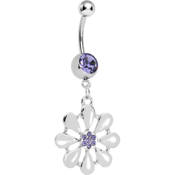 Purple Gem Pretty White Petals Flower Charm Belly Ring