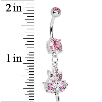 Pink Gem Icy Leaf Drop Charm Belly Ring