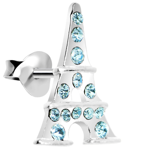925 Silver Aqua CZ Eiffel Tower Stud Earrings