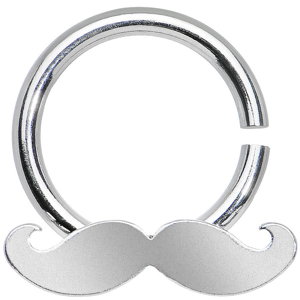 14 Gauge Shimmering Mustache Horseshoe Septum Ring