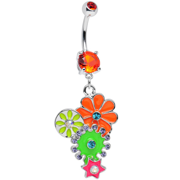Orange Gem Bunches of Blossoms Colorful Flowers Dangle Belly Ring