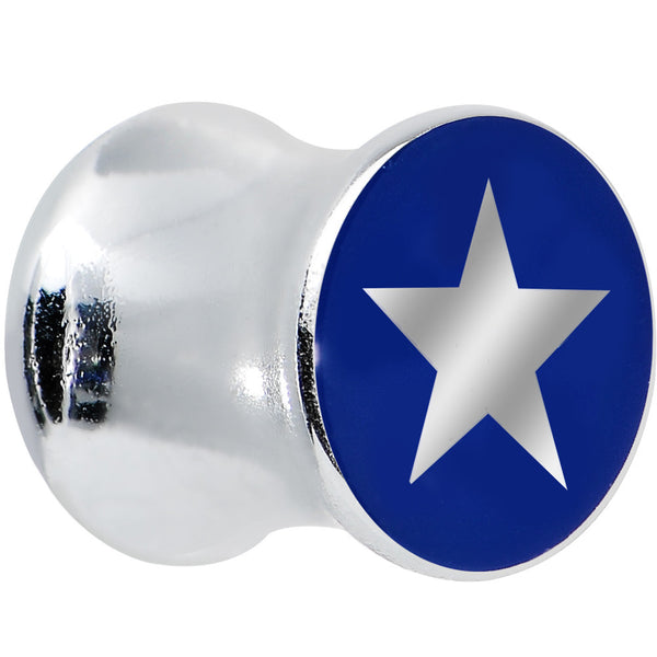 0 Gauge Silver Acrylic Blue Star Saddle Plug