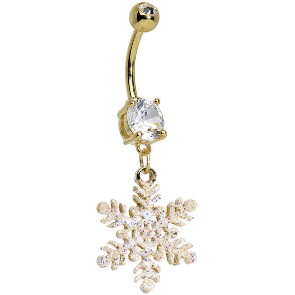 Clear CZ Gold Plated Glittering Snowflake Dangling Belly Ring