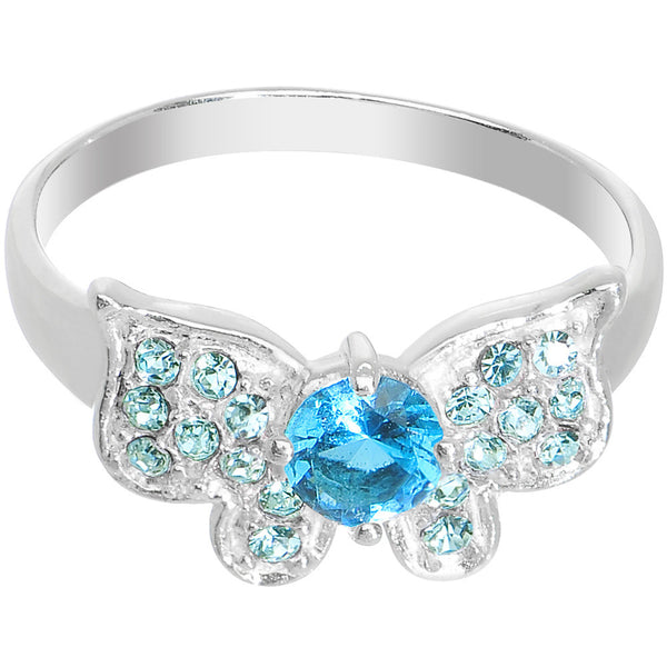 925 Sterling Silver Aqua CZ Floating Butterfly Ring - Size 7