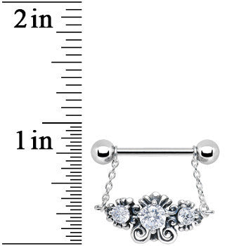 925 Silver Sophisticated Symmetry Three Clear CZ Silver Nipple Ring