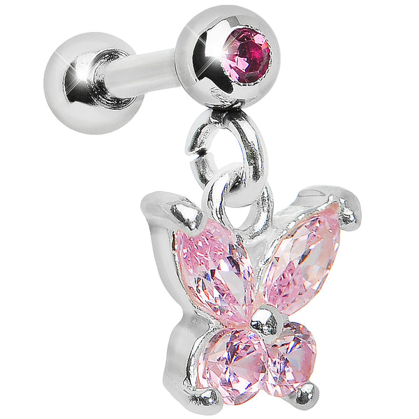 925 Sterling Silver Pink CZ Sweet Butterfly Dangle Cartilage Earring