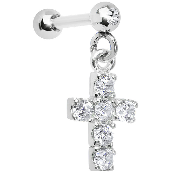 925 Sterling Silver Clear CZ Cross Dangle Cartilage Earring