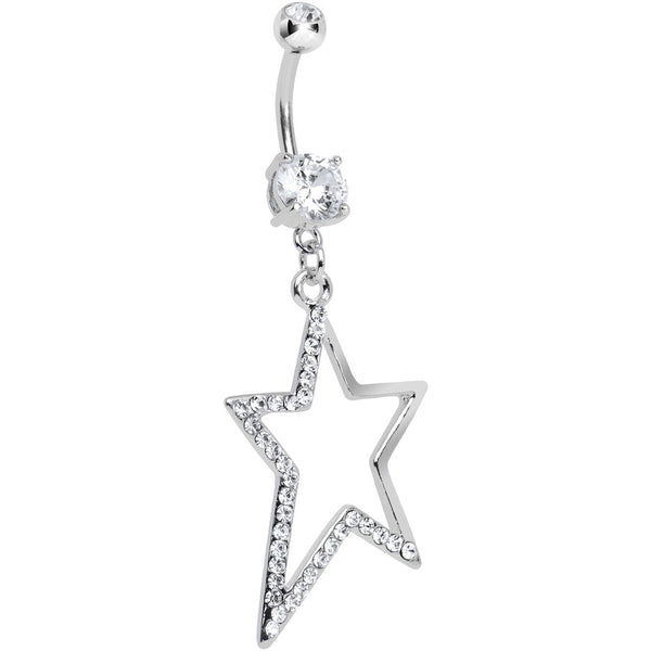 Double Clear Gem Hollow Warped Star Dangle Belly Ring