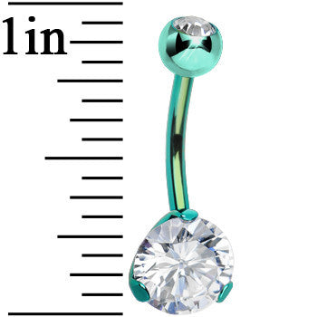 CZ Clear Green Titanium IP Belly Ring