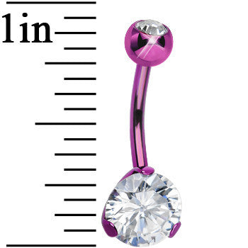 CZ Clear Purple Titanium IP Belly Ring