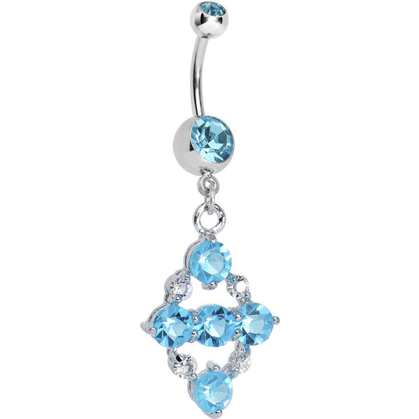 Aqua CZ Brilliant Quad Dangle Belly Ring