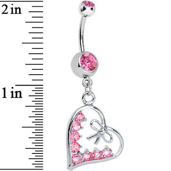 Pink Gem Dainty Bow in CZ Heart Dangle Belly Ring