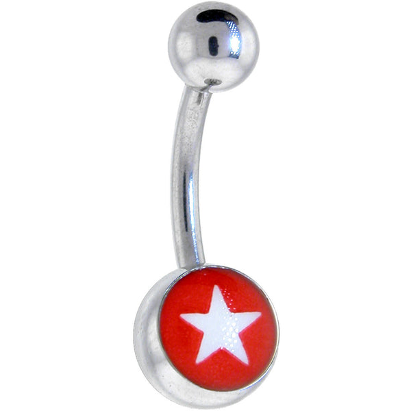 Red WHITE STAR Logo Belly Button Ring