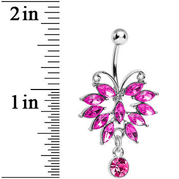 Pink Gem Majestic Big Bug Dangle Belly Ring