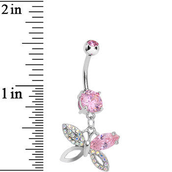 Pink Gem Exquisite Insect Butterfly Dangle Belly Ring