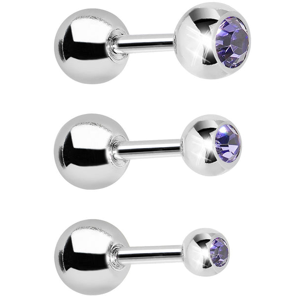 16 Gauge 1/4 Purple Gem Cartilage Tragus Barbell Set of 3