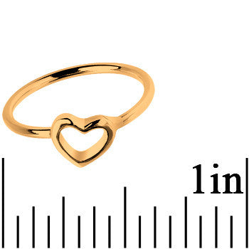 Gold Tone Hollow Heart Mid Finger Ring - Size 3