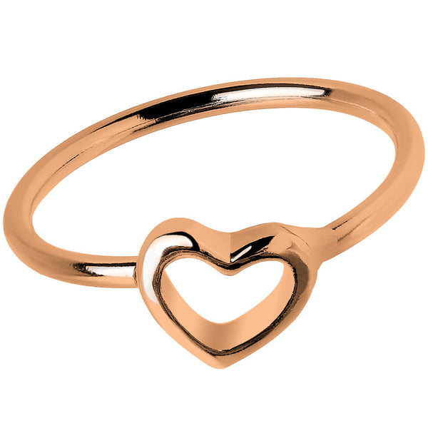 Rose Gold Tone Hollow Heart Mid Finger Ring - Size 3